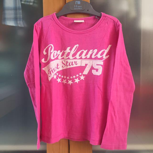 zara girls pink portland long sleeves t-shirt