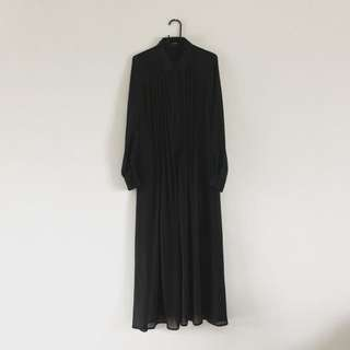 日本品牌 雪紡長款襯衫連衣裙