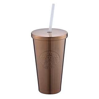 **包郵** 台灣直送 Starbucks 仿古紅銅色不鏽鋼Togo冷水杯 16OZ
