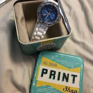 Blue and white fossil watch (needs battery replacement)