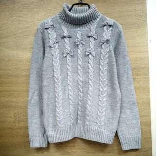💘九折💘全新 淺灰可愛蝴蝶結高領羊毛衣
