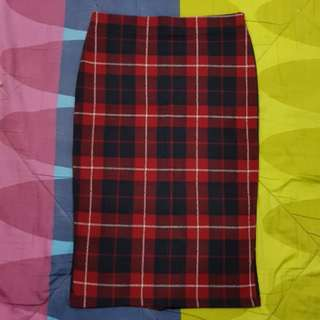 Zara Red Plaid Pencil Skirt