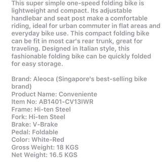 Aloca 14'' Single Speed Folding Bike