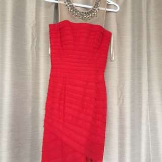 BCBG XS red formal dress with mesh and stud detail
