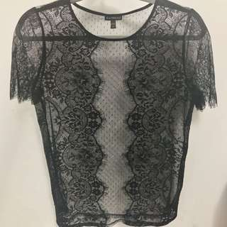 Black Lace Mesh Tee