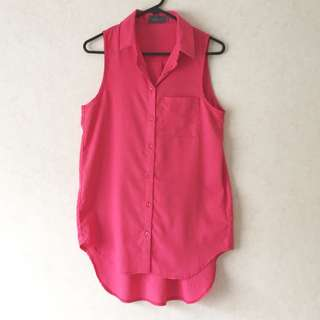 Pink collared sleeveless top