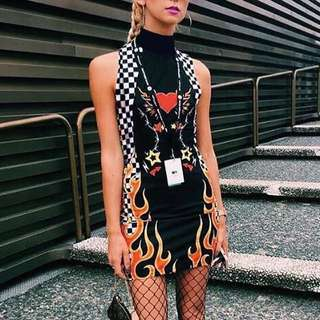 Checkered flame dress