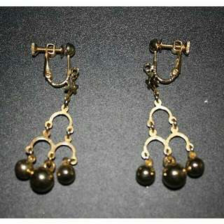 Golden Beads Clip-on Earrings