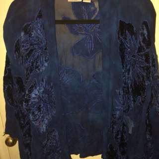 Velvet short kimono