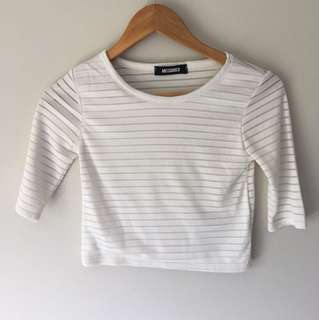 Misguided size 8 white crop top