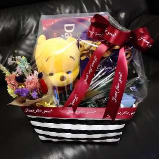 Chocolate Hamper - Winnie the Pooh and Flowers Cheap Hamper Gift Hamper Food Hamper