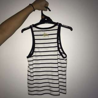 Stussy Tribe White and Black Striped Crop Top