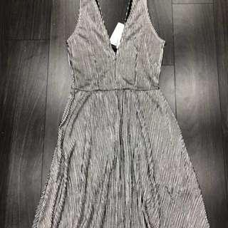 BNWT H&M pleated silver dress