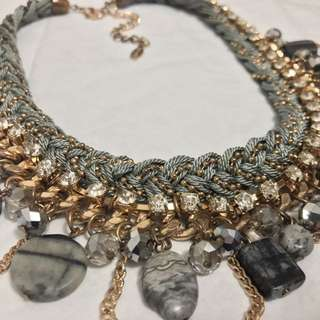 Chunky Grey Marble Statement Necklace