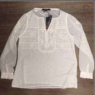 ✨SALE✨White Debenhams Embroidered Aztec Top