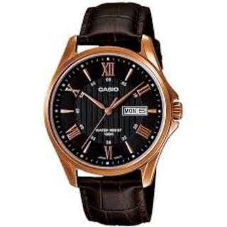 CASIO MTP-1384L-1A BROWN LEATHER WATCH FOR MEN - COD + FREE SHIPPING
