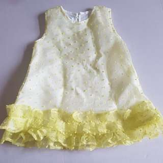 Dress baby warna kuning bahan organdi