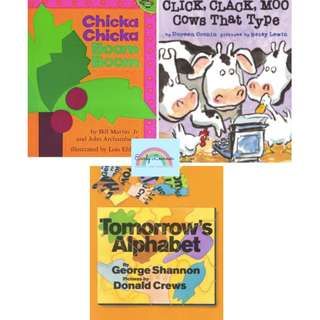 FREE delivery★ BN :Chicka Chicka Boom Boom★Click Clack Moo Cows That Type★Tomorrow's Alphabet★Children Books