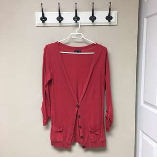 Red 3/4 length sleeve cardigan