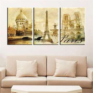 Vintage Paris 3 PIECE  CANVAS