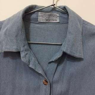 牛仔長版襯衫外套 #幫你省運費