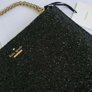 Kate Spade Black Glitter Clutch