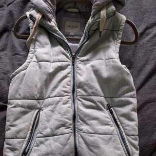 Denim look puff vest