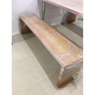 Narra Dining Table with hairpin legs and Benches