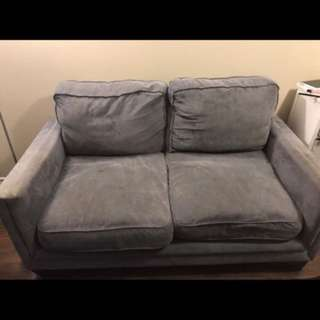 Blue grey loveseat