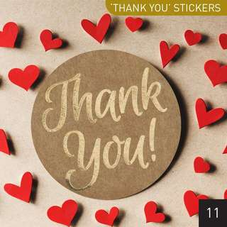 [$5.00/12pcs] Gold Script 'Thank You' Round Sticker Seals for Any Events 4 cm