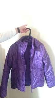 Jaket winter coat ungu bulu angsa