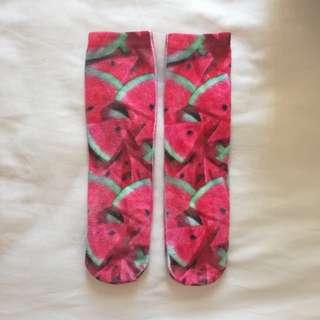 watermelon print socks