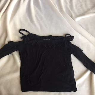 Cotton On Off The Shoulder Black Long Sleeve Crop Top