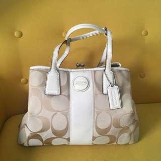 Coach Signature Stripe Framed Carryall Handbag, Light Khaki White