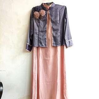 Set gaun panjang blazer