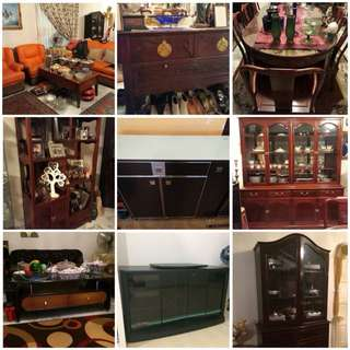 Moving Out Sale! Rosewood / Display Shelves / TV Cabinet / Carpets