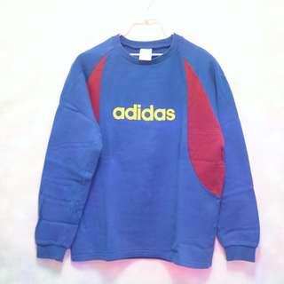 三件7折🎊 Adidas 長T 大學T 棉T 衛衣  藍紅 大logo 稀有 復古 古著 Vintage