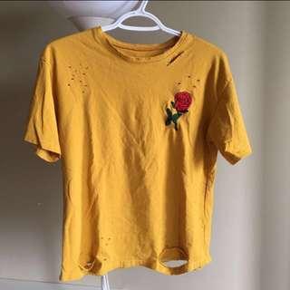 Rose embroidered mustard shirt