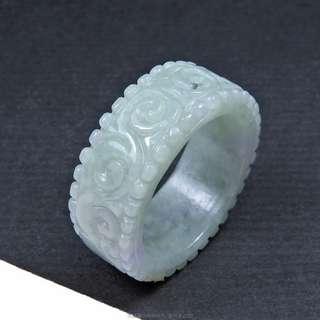 珍珠林~緬甸A貨紫羅蘭翡翠~祥福瑞壽如意雕刻玉戒~質感雕工都很棒#363
