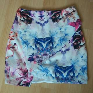 Ally Abstract Floral Asymmetrical Skirt