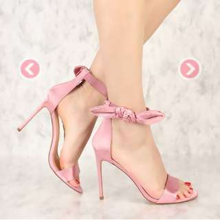 Dust Pink Bow Accent High Heels