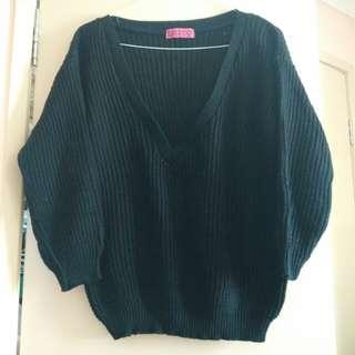 Boohoo black oversized deep v sweater