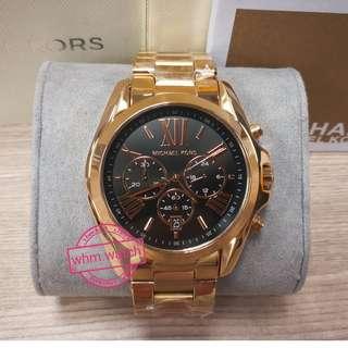 **MK watch MK5854 unisex Bradshaw Rose Tone Black Dial Chronograph Watch