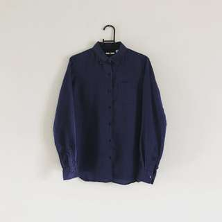棉麻藍色基本款襯衫