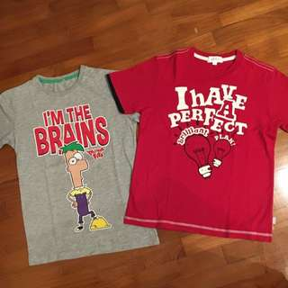 Disney Phineas N Ferbs T Shirt and Padini Red T Shirt