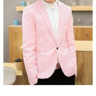 Leyi Men's casual English jacket, long sleeved suit pink