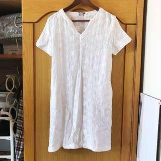 熱天午後 刺繡全白洋裝