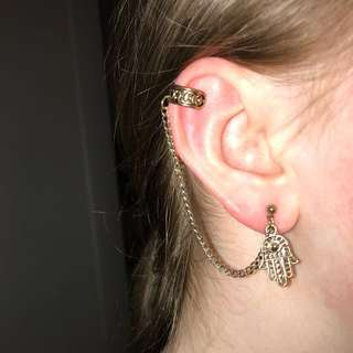 SPORTSGIRL Single Gold Earring with attached Cuff