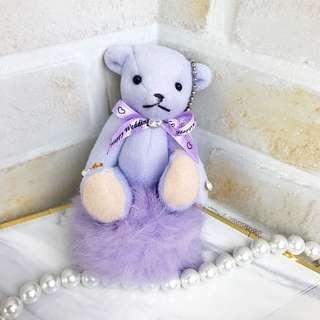 全新 紫色 毛毛小熊吊飾