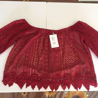 New With Tags TEMT burgundy Lace Off Shoulder Top Size L
